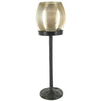 Copper Brown Glass Candle Holder